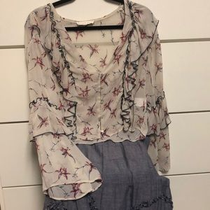 XS vintage nude navy and burgundy print blouse